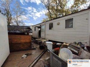 Evaluation des dégats par les equipes de la protection civile de talence dans un camping